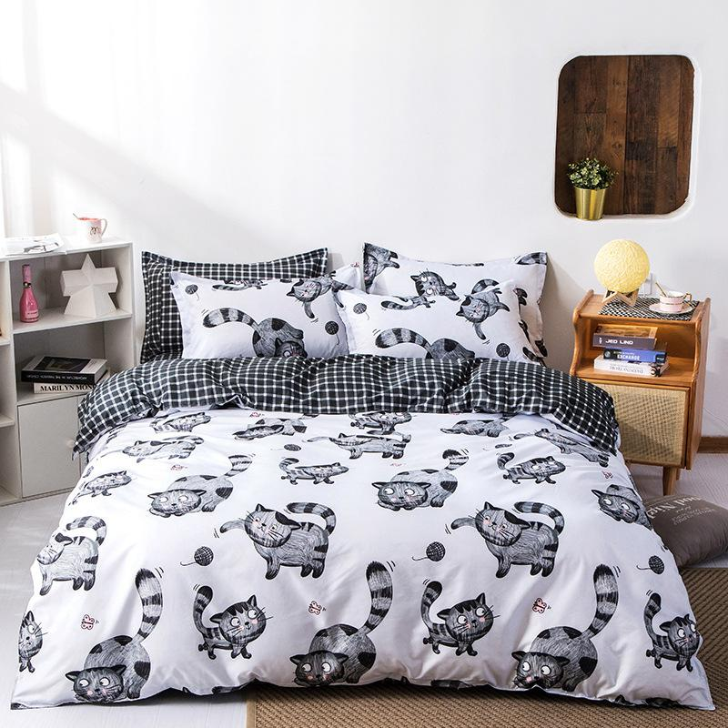 Cat Snowflake Printed 4pcs Girl Boy Kid Bed Cover Set Cartoon Duvet Cover Bed Sheets and
