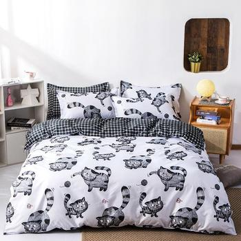 Cat Snowflake Printed 4pcs Girl Boy Kid Bed Cover Set Cartoon Duvet Cover Bed Sheets and Pillowcases Comforter Bedding Set 61002 image