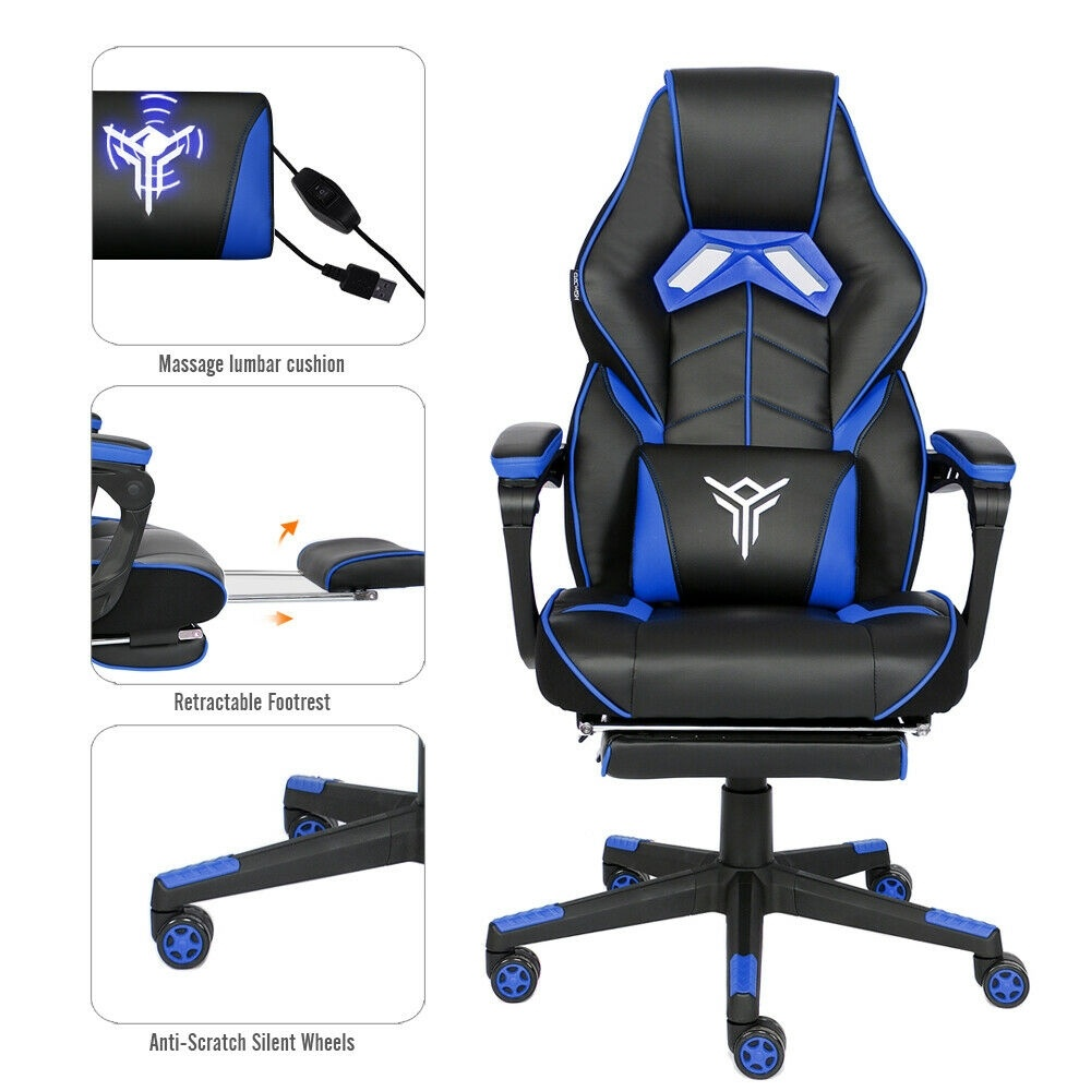 Racing Gaming Chair Computer Office Adjustable Swivel Recliner PU Leather Seat