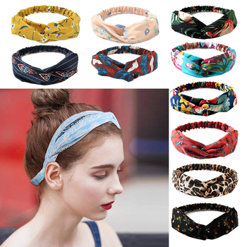 Bohemian Girls Hairband Hair Accessories Print Headbands Vintage Women Headband Cross Top Knot Elastic Soft Solid Color