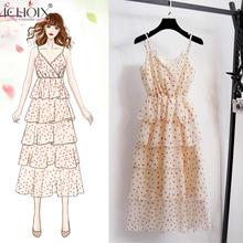 ICHOIX Boho Women dress 2019 Summer Chiffon Dress Printed Ruffles Long Dress Cute v-Neck Printed Sleeveless Beach Dress Strap printed thick strap form fitting dress