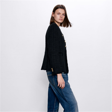 2020 ZA Women's Suit Fashion New Spring Breasted Tweed Coat Boho Women's Round N