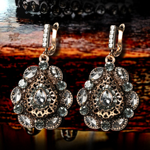 Kinel 2020 New Boho Women Statement Earrings Antique Gold Gray Crystal Flower Ethnic Drop Earrings Vintage Wedding Jewelry kinel 2020 new boho ethnic big drop earrings antique gold color beach gray crystal bridal earrings for women vintage jewelry