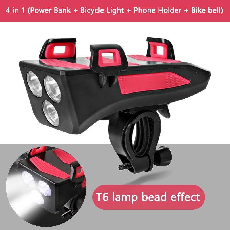 Multi-functional Bicycle Handlebar Phone Holder Head Light Power Bank Bike Bell