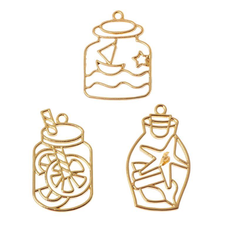 3Pcs Drift Bottle Blank UV Resin Frame Pendant Open Bezel Setting Jewelry Making