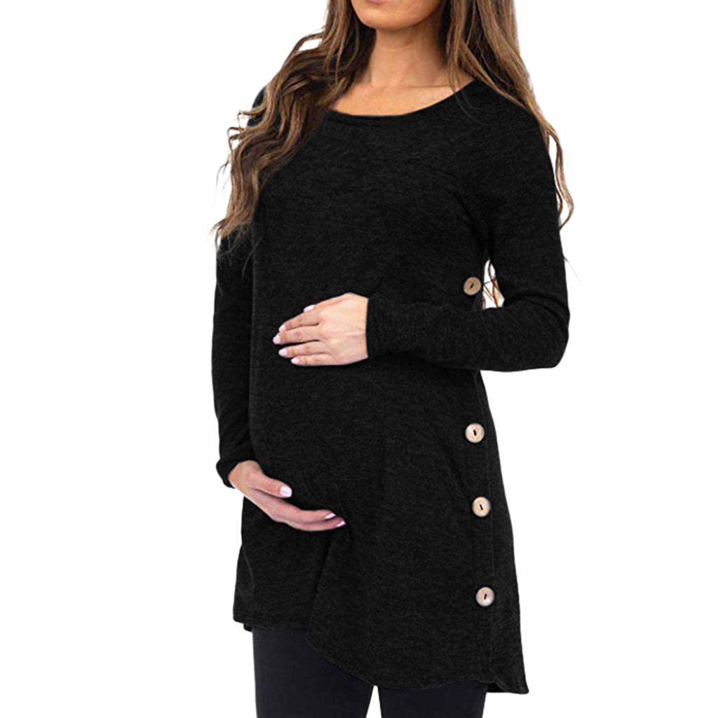 Women's Maternity Pregnanty Top Long Sleeve Solid Tops Clothes  Button Autumn Winter Maternity Dress Pregnancy Clothes Premama#J