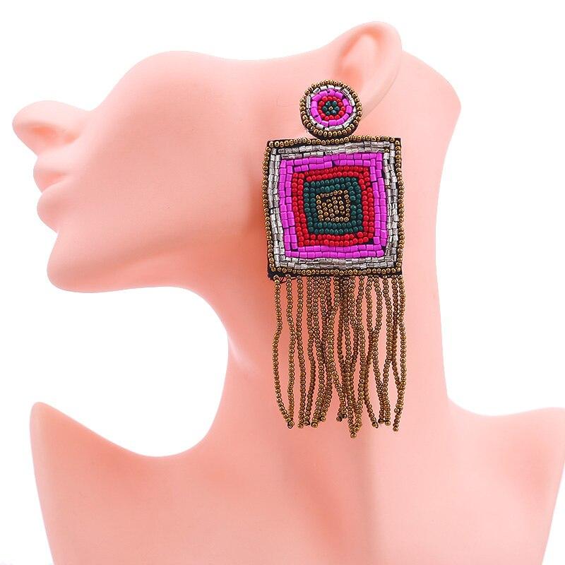 New Design Handmade Fringed Tassel Earrings for Women Bohemian Jewelry Gifts Wedding Glass Eyes Drop Earring Party (6)