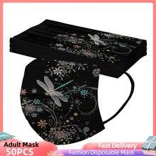 10/30/50 Uds adulto de impresión Digital de tres capas de protección transpirable máscara Mascarillas Новый Год 2021 Feliz Navidad máscara