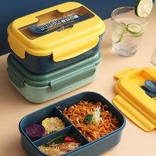 Student lunchbox Japanischen stil Dicht lebensmittel container lagerung Weizen Stroh Material Frühstück bento box Mit Gabel löffel