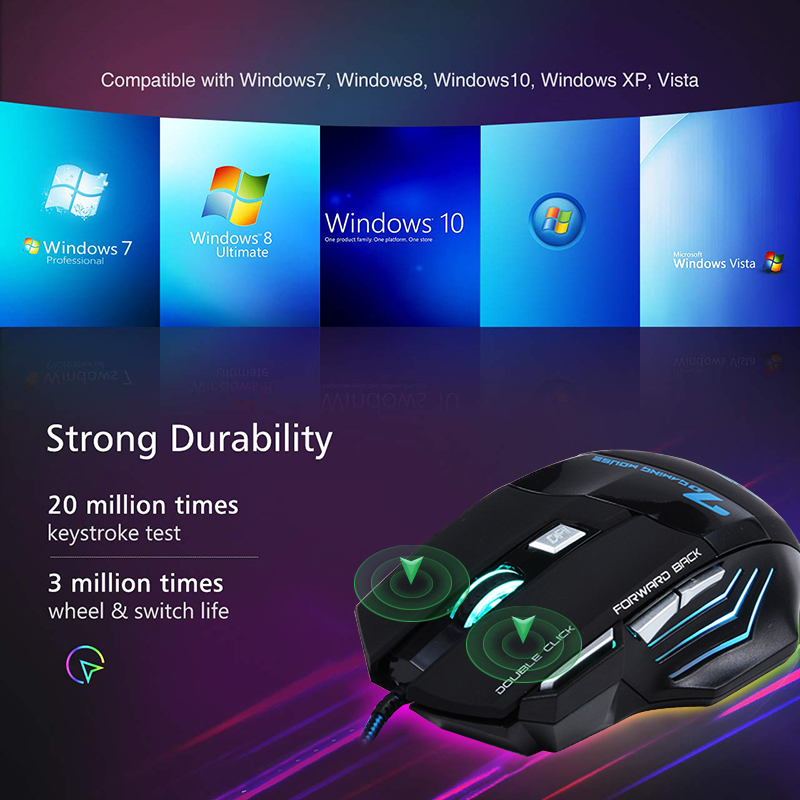Ergonomic Wired Gaming Mouse 7 Button LED 5500 DPI USB Computer Mouse Gamer Mice X7 Silent Mause With Backlight For PC Laptop 5