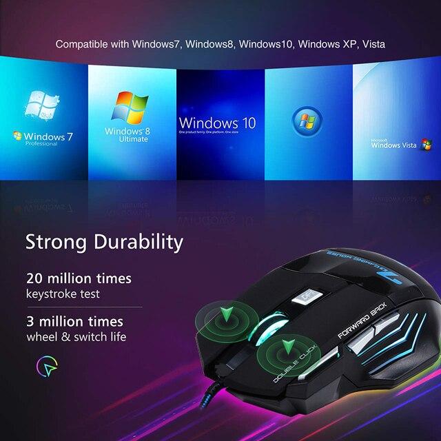 Ergonomische Kabel Gaming Maus 7 Taste LED 5500 DPI  5