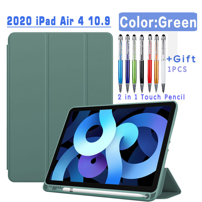 Pencil Case-Green Red Magnetic Case For iPad Air 4 2020 10 9 inch flip case with Pencil Holder For