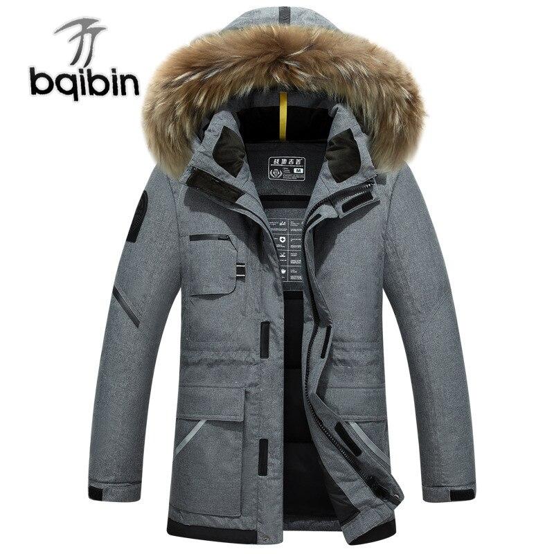 Длинная зимняя мужская куртка парка на утином пуху с меховым капюшоном утепленная -25 C