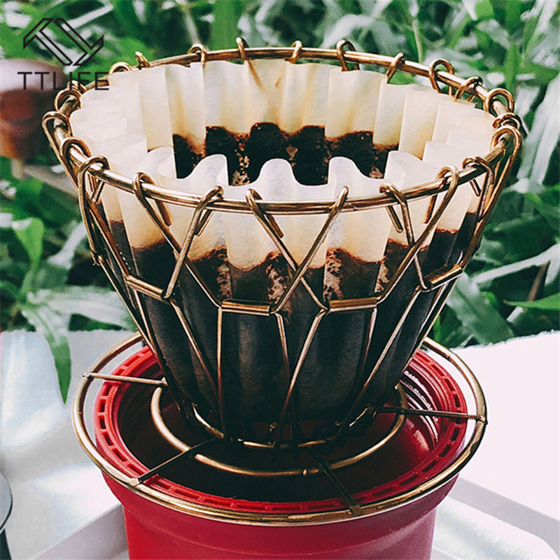 VOGVIGO Stainless Steel Coffee Dripper Foldable Filter V60 Style Coffee Drip Filter Cup Portable Reusable Paperless Pour Over