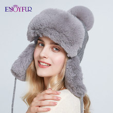 ENJOYFUR Bomber hats for women winter warm knitted caps with