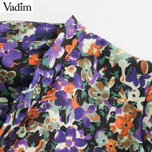 Image 3 - Vadim elegante para mujer floral patrón mini vestido O cuello linterna manga elástica cintura femenina casual retro vestidos QD162