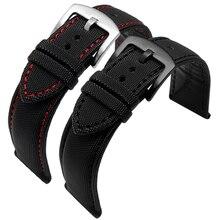 Ремешок нейлоновый кожаный для мужских часов, классический стильный водонепроницаемый браслет для наручных часов № 5, 20 мм 21 мм 22 мм 23 мм 24 м...