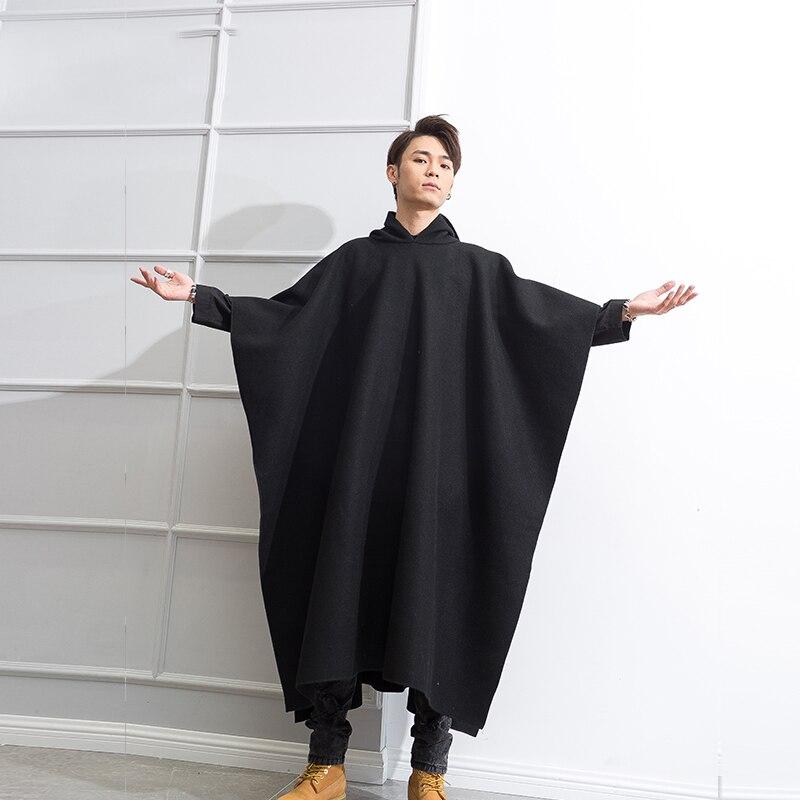 M-4XL Retro Woolen Coat Men's Hooded Over-Knee-length Coat Winter Korean Black Student Cloak Tall Clothes