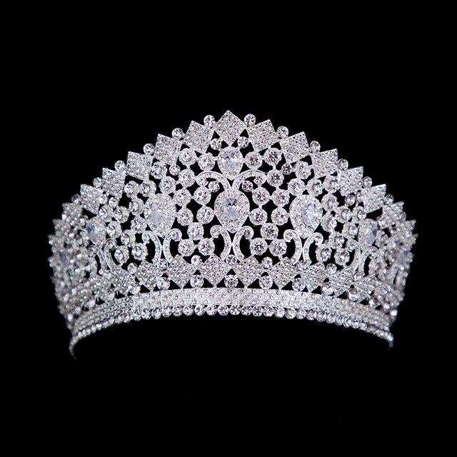 Luxe Bridal Tiara Grote Kristallen Zirkoon Koningin Crown Bruiloft Accessoires Diadeem hoofdband Pageant Haar Sieraden Voor Bruiden Party