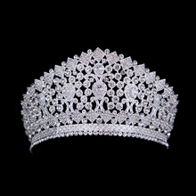 Luxury Bridal Tiara Big Crystal Zircon Queen Crown Wedding Accessories Diadem headband Pageant Hair Ornaments For Brides Party