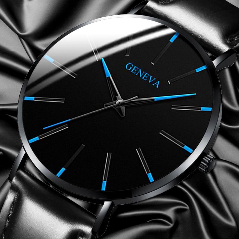 Relogio Masculino Men Leather Watch Casual Black Classic Quartz Sport WristWatches Fashion Geneva Business Clock Montre Homme