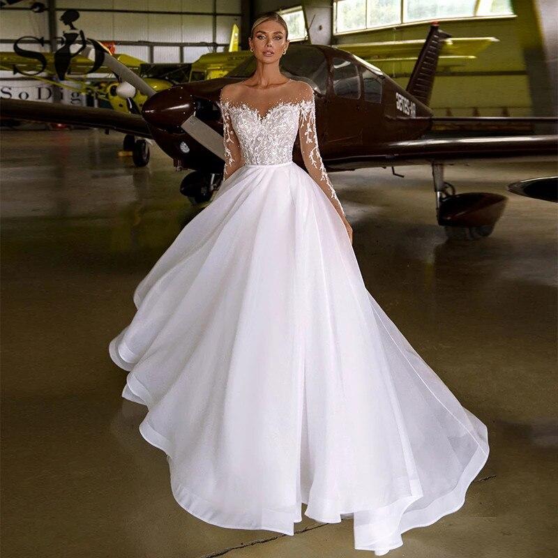 SoDigne Wedding Dresses For Women 2021 Lace Applique Beading O neck Organza...