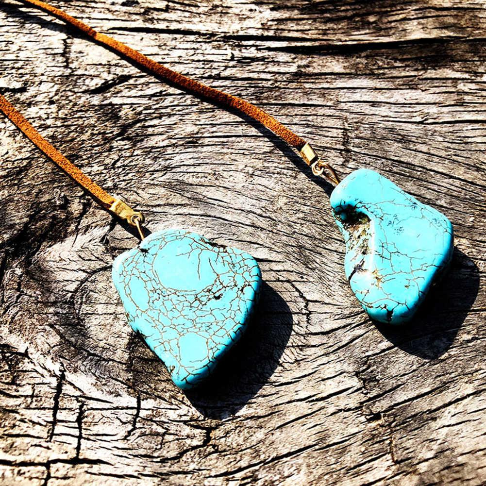 Halsband Y-form Faux Leder Seil Unregelmäßige Synthetische Türkis Anhänger Halskette Für Frau collares de moda 2019 collares kette