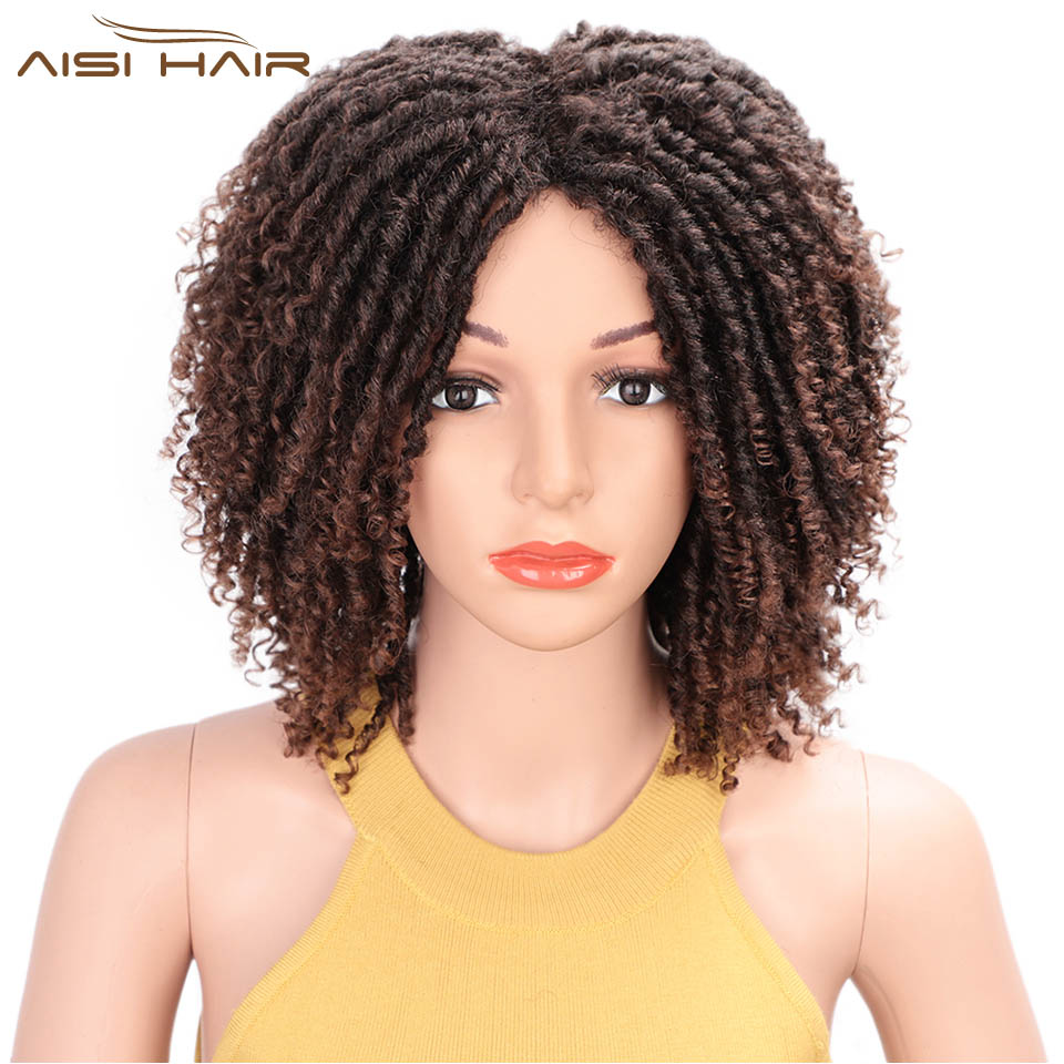 I's A Wig 14'' Soft Short Curly Synthetic Wigs  For Black Women Dreadlock Ombre Burg Crochet Twist Hair High Temperature Fiber