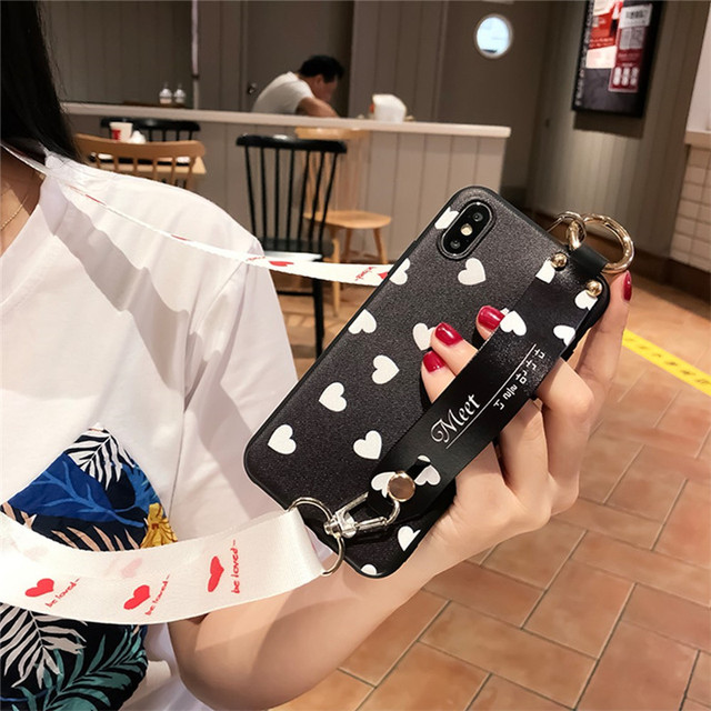 Case Cover Fashion Love Heart Wristband Holder Shoulder Strap Soft Silicone For iphone 11 pro max xs max xr x 7 8 6s 6 plus