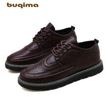 Buqima Classic Comfortable Mens Leisure Shoes Shoe Leather Flat-soled New Large Head