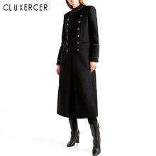 Женское шерстяное пальто винтажное двубортное длинное зимняя