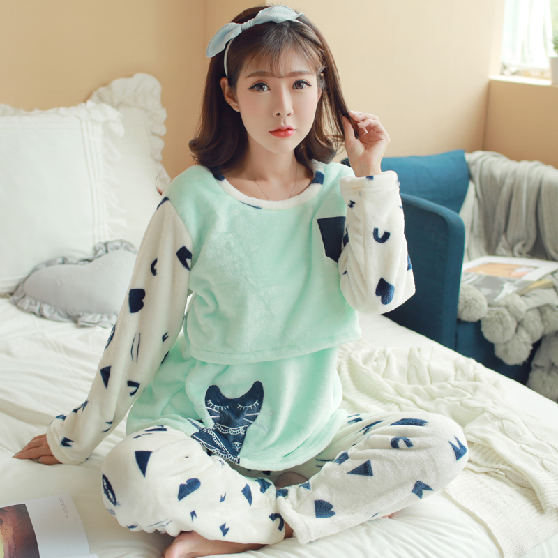 Women Pajamas Set 2019winter Maternity Pijamas Flannel Mother Nursing Pajamas Pregnant Women Sleepwear Pregnancy Warm Nightwear