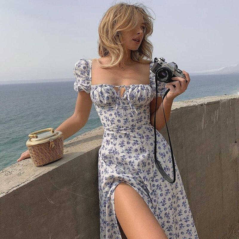 Винтажное длинное летнее платье HEYounGIRL с цветочным принтом и разрезом по бокам, летние белые элегантные платья, праздничные пляжные богемны...