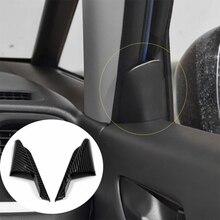Fibra de carbono porta da frente canto guarnição capa decore para honda jazz apto 2020 2021 acessórios do carro estilo