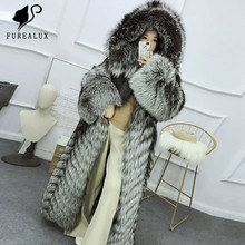 Fashion Women Super Luxury New Whole Skin Natural Real Silver Fox Fur Coat Thick Warm High Quality Outerwear Clothing Customized