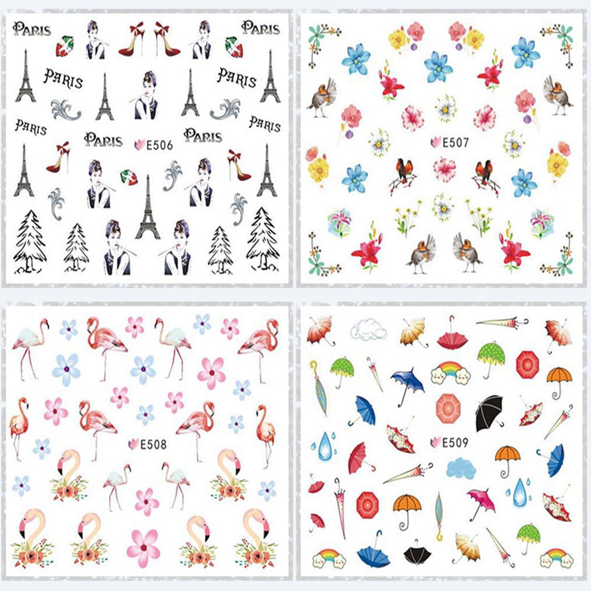 E490-555 Series 3D Suspender Strap Glue Nail Sticker 3D Nail Sticker Flower Butterfly Nail Polish Manicure Flower Stickers