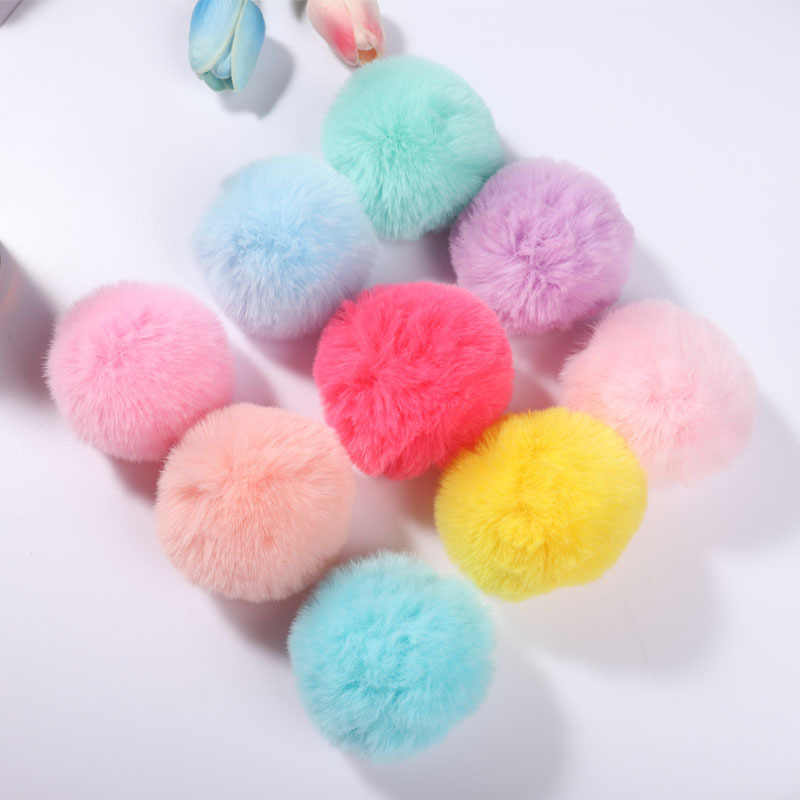 Real Rex Rabbit Fur Ball 6cm Pompom Car Pompon Rabbit Fur Ball for Keychain Fur DIY Bag Charms with Fluffy Bunny Ponpones 1pcs