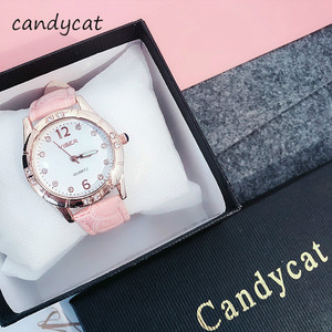 CandyCat Watch Students Korean Version of The Simple Cute Junior High School Hipster Leisure Atmosphere Small Womens Watch(China)