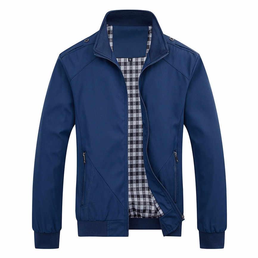 Chaqueta de bombardero de manga larga Otoño Invierno chaqueta informal de color puro Abrigo de cremallera Abrigo Hombre Invierno Abrigo Hombre A3