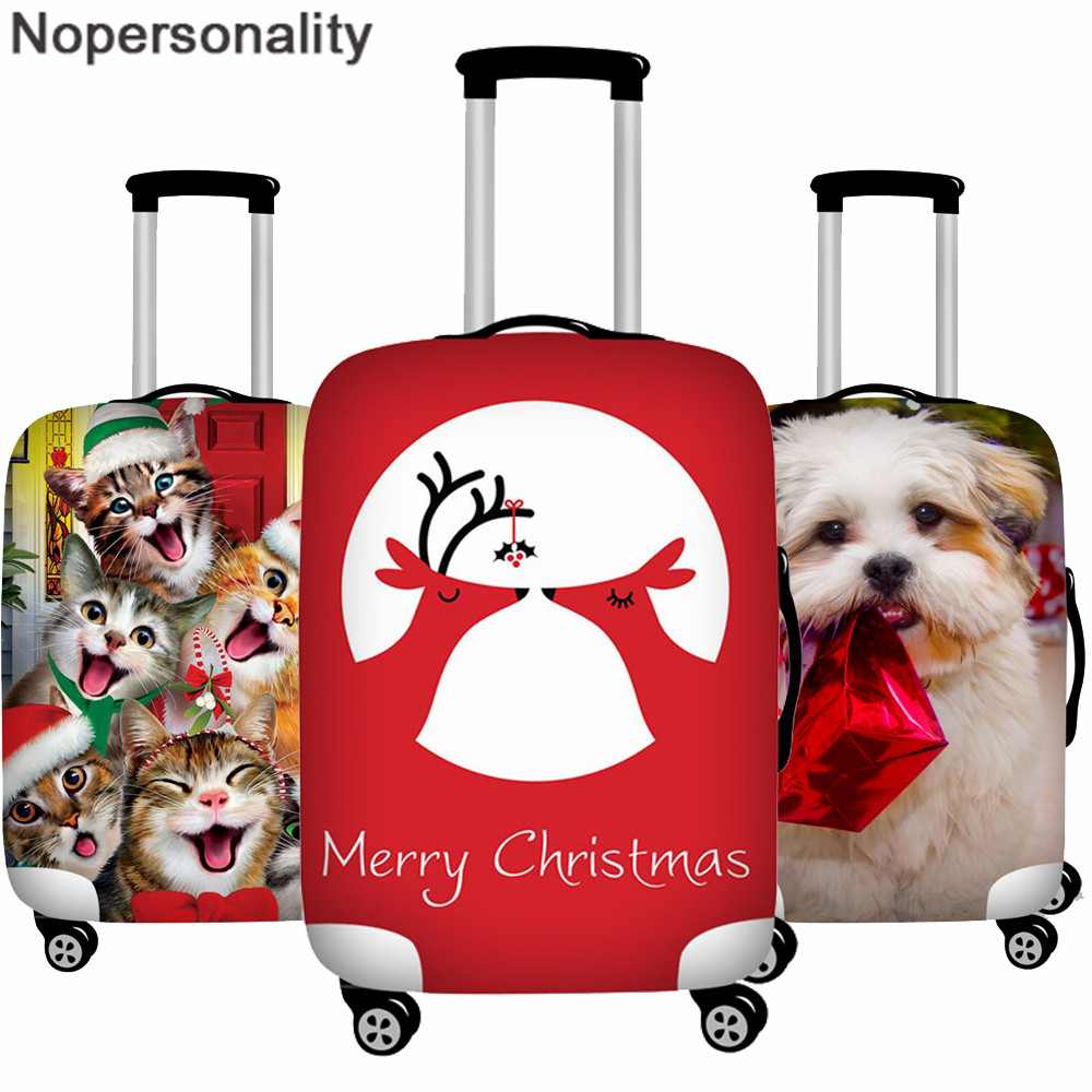 Nopersonality Christmas Suitcase Cover Travel Trolley Case Protective Cover For 18-32 Inch Travel Accessories Baggage  Cover