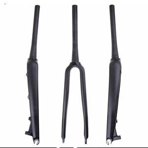 3k Carbon Fiber Bike front fork carbon-fiber front fork road bicycle front Disc brake fork bicycle partsSuper light 700C 1-1/8