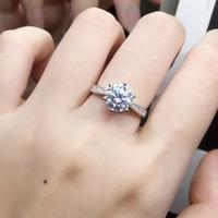 925 sterling silver Moissanite ring Classic style Round Cut Ring Single Row Diamond Engagement Anniversary Ring 1ct