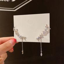 FYUAN Stile Coreano Foglia Zircone Orecchini A Pendaglio Per Le donne Lungo Nappa Geometrica collana di Dichiarazione di Cristallo Dei Monili Degli Orecchini