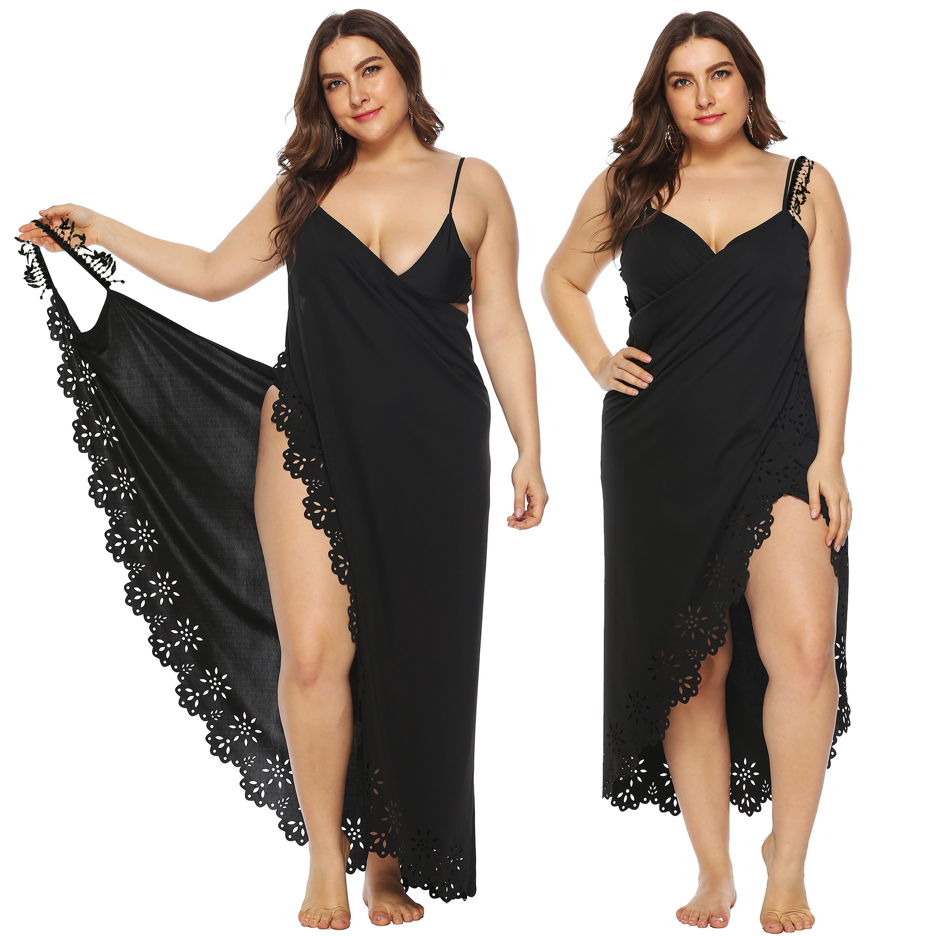 Separate Station Hot Selling Irregular Tassels Joint Hollow Out Burning Flowers Beach One-piece Dress Sun-resistant Blouse A6150