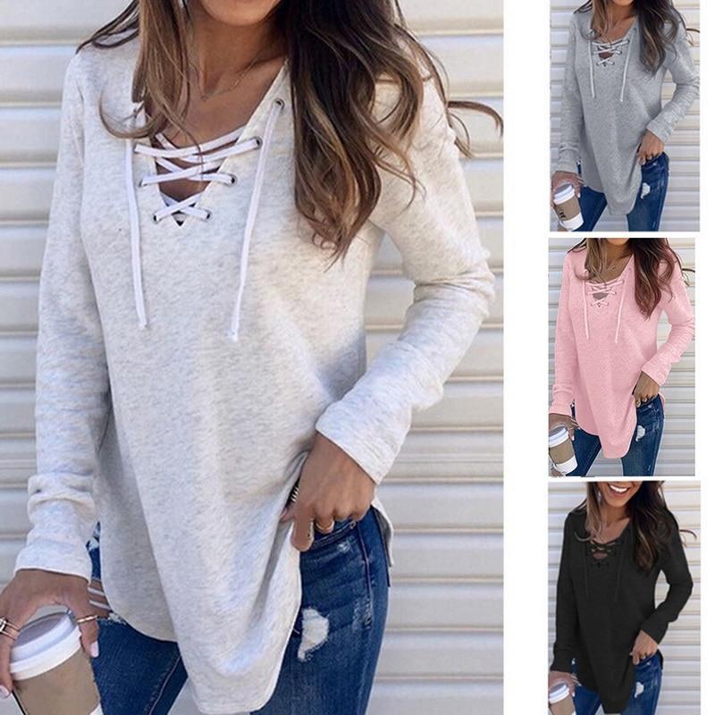 CALOFE Autumn Winter Women Loose Casual   Shirt   2019 Fashion Lace Up   T  -  shirt   Female V-Neck Solid Pierced Long Sleeve Soft   T  -  Shirt