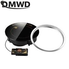 Круглая электрическая Магнитная индукционная плита DMWD, 1200 Вт, управление проводом, черная кристальная панель, горячий горшок, варочная пове...