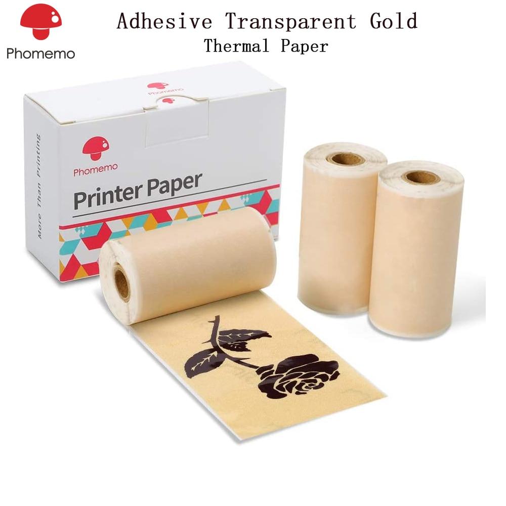 Phomemo Adhesive Transparent Gold Thermal Paper For Phomemo M02/M02S Mini Bluetooth Pocket Printer 3 Rolls Thermal Paper