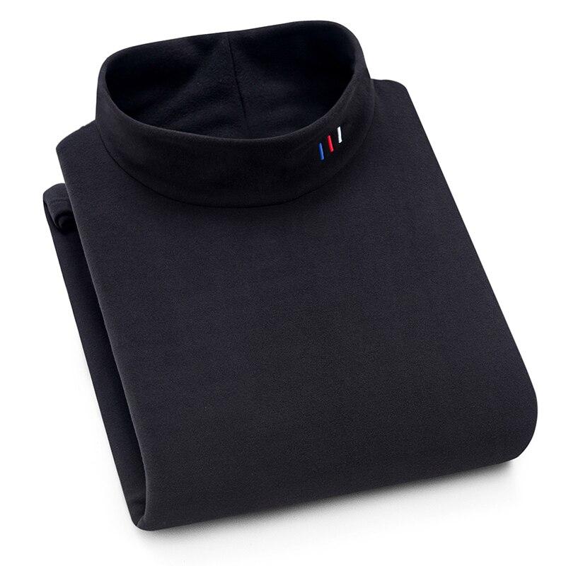 Aoliwen men Autumn and winter season plus velvet warm high collar print sweatershirt Solid color long