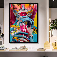 5d pintura diamante arte da parede colorida nua mulher beber água pintura graffiti diamante bordado diy artesanal diamante ff1788