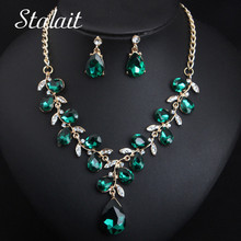 Leaf Jewelry Sets Bridal Gold Chain Necklace Earrings Green Water Drop Crystal For Women Fashion Jewelry Set Accessories стоимость